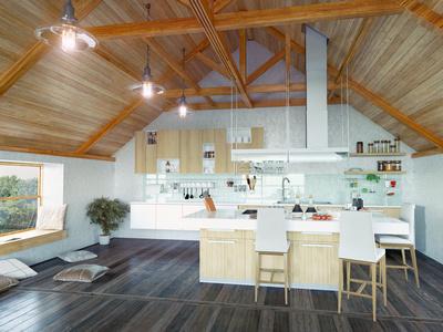 modern tetőtéri konyha